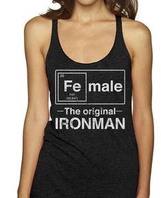 Female - The Original Ironman (white) on a Black Racerback