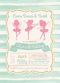 Bailarina cumpleaños invitación invitación por SweetBeeDesignShoppe