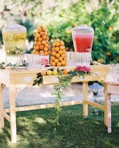 Pre-ceremony refreshments: citrus-cucumber water and watermelon lemonade