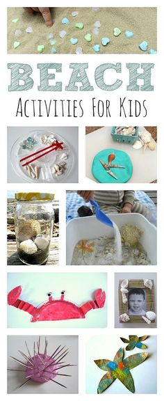 Summer Activities: Bring the beach to you with these fun beach activities for kids. Fun Beach Activities For Kids, Preschool Crafts, Toddler Activities, Preschool Activities, Ocean Activities, Educational Activities, Beach Themed Crafts, Ocean Crafts, Beach Crafts