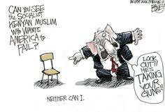"""""""The Man in the Empty Chair""""  This Pat Bagley editorial cartoon appears in The Salt Lake Tribune on Friday, Sept. 7, 2012."""