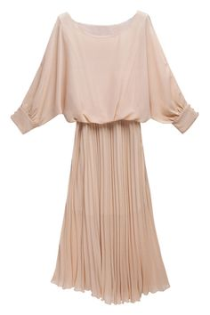 Off-the-shoulder Pleated Pink Dress. Description Pink dress, featuring scoop neck, off-the-shoulder design, magyars, buttoned cuffs, medium waist, pleated hem, solid color. Fabric Chiffon. Washing Cool hand wash with similar colours, do not tumble dry. #Romwe