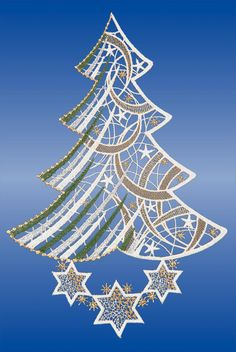 Buy Plauener lace window pictures for Christmas online - klöppeln lernen Lace Christmas Tree, Christmas Bells, Xmas, Christmas Ornaments, Doily Art, Lace Window, Advanced Embroidery, Parchment Cards, Bobbin Lace Patterns