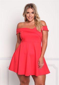 Plus Size Off Shoulder Flared Dress