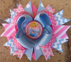Cinderella Disney Princess Disney Characters Custom Boutique Hair Bow for Disney World Vacation Character Dining or Birthday Party