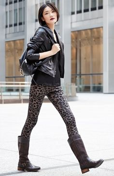 Timberland Earthkeepers® Tall Boot, Marc New York by Andrew Marc Leather Jacket & Hue Denim Leggings  available at #Nordstrom