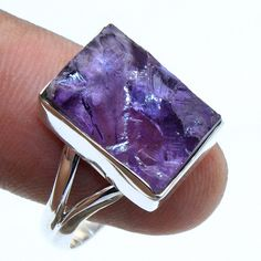 ROUGH GEMSTONE- 925 Sterling Silver Purple Amethyst Ring jewelry Size US 9 #Unbranded #Ring #Anniversary