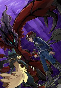 Trainer Mega Lucario and Yveltal Kalos Pokemon, Rayquaza Pokemon, Mega Lucario, Mega Pokemon, Pokemon Comics, Pokemon Fan Art, Cool Pokemon, Pokemon Stuff, Random Pokemon