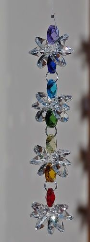 Hanging Crystal Sun-Catcher Cluster Chakra Rainbow Feng Shui Meditation Healing
