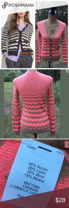 "Wallace Madewell Graphic Songstress Cardigan XS This listing is for an adorable Wallace Madewell Graphic Songstress Cardigan Sweater in a women's size extra small. It is coral and tan chevron with elbow patches and buttons down the front. It is in very good  condition. It is perfect for fall and so cute layered with a chambray shirt.  17"" Armpit to armpit 15"" waist   23"" Long from shoulder to bottom hem  Measurements were taken with sweater lying flat and are approximations. Madewell…"