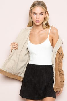 Brandy ♥ Melville |  Elisha Fur Corduroy Jacket - Clothing