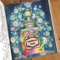 A bottle full of magic and rainbow dust!!   #hannakarlzon #magiskgryning #magiskgryningmålarbok #hannakarlzonmagiskgryning #polychromos #fabercastell #adultcolouring #colouring #colouringbook #målarbokförvuxna #målarbok