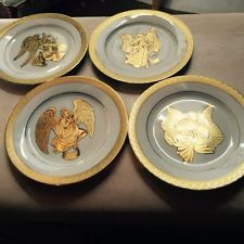 CENTURIUN 9414 PURE GOLD CHRISTMAS SET OF 4 ANGELS PLATES & MAXCERA TOP HAT SNOWMAN FROSTY HOLIDAY CHRISTMAS 12 PC DINNERWARE ...