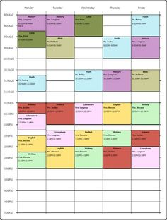 Online Weekly Class Scheduling Template...I Used the Free College Schedule Maker...Watch his Youtube Video... https://www.youtube.com/watch?v=s6XLL0PadLw