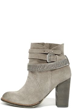 Chinese Laundry Zanga Grey Suede Leather Ankle Boots