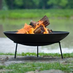 This cast iron fire pit is a durable dish that can be placed on a stand or directly on the ground to give any outdoor area a rustic appearance. Buy no
