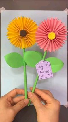 Paper Crafts Origami, Diy Crafts For Gifts, Paper Crafts For Kids, Creative Crafts, Flower Crafts Kids, Paper Flowers For Kids, Spring Crafts, Barn, File Decoration Ideas