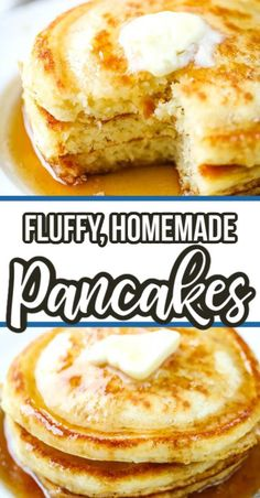 Delicious every time! You'll love these easy, light, fluffy homemade pancakes! Made with ingredients you already have in your pantry. Breakfast Pancakes, Breakfast Dishes, Pancakes For Dinner, Mexican Breakfast, French Pancakes, Yogurt Pancakes, Vegan Pancakes, Blueberry Pancakes, Breakfast Casserole