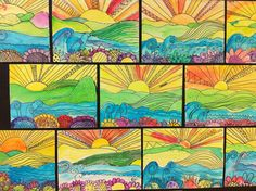 Apex Elementary Art: whimsical landscapes/foreground, middle ground, background and maybe even a little warm/cool info