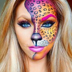 This Lisa Frank-inspired cheetah look is perfect for Halloween Creepy Halloween Makeup, Cute Halloween Makeup, Halloween Makeup Looks, Face Paint For Halloween, Halloween Halloween, Maske Halloween, Halloween Costumes, Beautiful Halloween Makeup, Cheetah Makeup