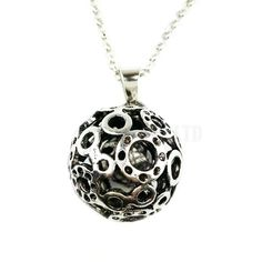 antique silver color hollow out ball pendant long necklace