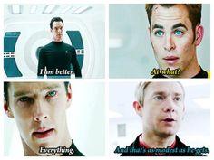 Star Trek/Sherlock Holmes mashup: That's as humble as Sherlock, er, I mean Khan, gets.