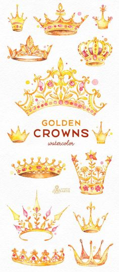 Golden Crowns. 14 Watercolor handpainted Clipart. Royal king #watercolorarts