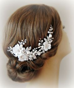 Light Ivory Bridal Comb Hair Vine Silk Flowers by TheRedMagnolia