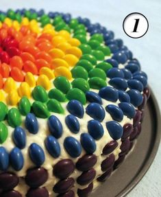 A rainbow cake is fun to look at and eat and a lot easier to make than you might think. Here's a step-by-step guide for how to make a rainbow birthday cake. Food Cakes, Cupcake Cakes, Mnm Cake, Baby Cakes, Skittles Cake, Smarties Cake, Easy Cakes For Kids, Rainbow Desserts, Easy Cake Decorating