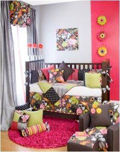 Babies nursery brown pink & flowers decor