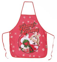 MUPPETS CHRISTMAS KERMIT & MISS PIGGY 100% COTTON APRON IN A TUBE  #TheMuppetShow