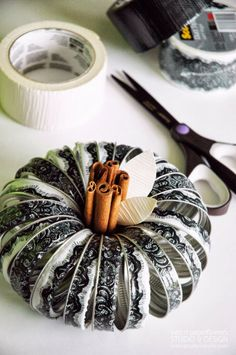 Adorable Fall DIY Pumpkin using mason jar bands and @Scott Buxman Colors and Patterns Duct Tape Patterns and Colors Tapes!! At some point, I will probably want to do this lol