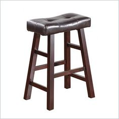 Poundex Country Series Counter Stool in Dark Cherry Finish (Set of 2) - These bar stools are designed with pure modern composition. The seating is covered in dark brown faux leather with a medium shine for a luxurious feel. The stools legs resemble a painters bench for a casual presence, making it modern and an excellent addition to your home decor.   Features: Item is designed to bring a bit of elegance to any room of your home. Stylish furniture design Some assembly may be required  Set of…
