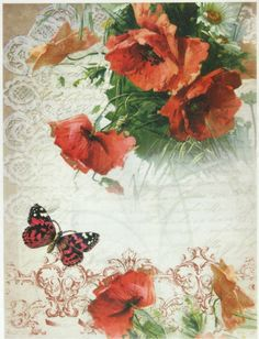 Ricepaper / Decoupage paper, Scrapbooking Sheets Poppies
