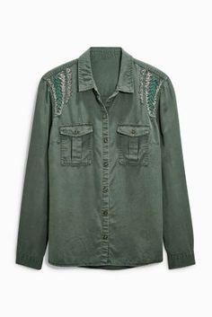 c450aa20554 Buy Khaki Embellished Utility Shirt from the Next UK online shop