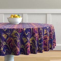 The luxe, heavy cotton sateen Malay tablecloth will elevate your round dining table with one-of-a-kind pattern and color. The Malay tablecloth is made of our durable, wrinkle-resistant, Luxe Cotton Sateen and features a double folded Circular Tablecloths, Round Tablecloth, Astrology Zodiac, Round Dining Table, Purple Gold, Spoonflower, Craft Projects, Marble, Fabrics