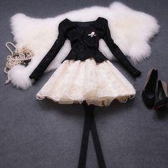Black Tulle lace dress womens dress women fashion dress long sleeve dress  --WD110 on Etsy, $86.99