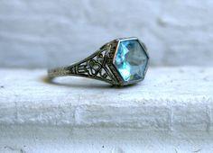 Beautiful Vintage 18K White Gold Aquamarine Filigree Ring.. $595.00, via Etsy.