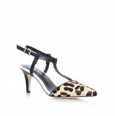 albus leopard mid heel court shoes from Miss KG