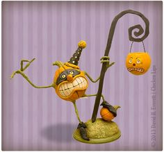 Lampwick the Pumpkin by chickenlipsfolkart on Etsy, $225.00