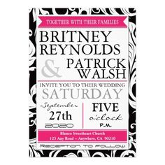 black and pink wedding invitations-HOrY
