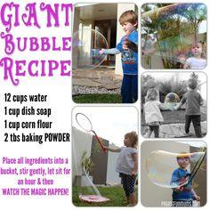 GIANT Bubbles Recipe! Super Fun!