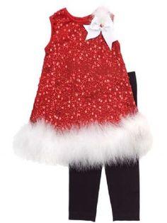 Sparkle Santa Baby Dress & Legging Set 6 Months ONLY (Girls Christmas Dresses). Baby Girl Christmas, Girls Christmas Dresses, Christmas Outfits, Newborn Christmas, Christmas Sewing, Bitty Baby Clothes, Dress Out, Dresses With Leggings, Black Leggings