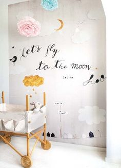 Onszelf Kids Wallpaper Panels- Lets Fly to the Moon OZ3156 by Onszelf | JUST KIDS WALLPAPER™