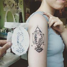 GEOMETRIC OWL TATTOO DESIGN ON ARM