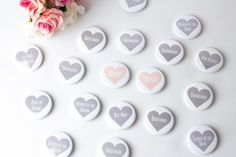 Personalized badges that complement the theme and the look and feel of the wedding party Wedding Badges, Wedding Favors, Personalised Badges, Bridesman, Man Of Honour, Heart Button, Italy Wedding, Groomsmen, Perfect Wedding