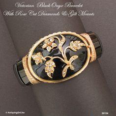 Antique Victorian Bracelet Onyx Diamonds Gilt by AntiquingOnLine, $1250.00