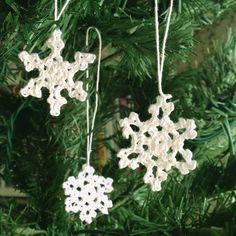 Hand Crochet Snowflakes, Set of Three (3) White Mini 1 inch Snowflake Ornaments 100 Percent Cotton