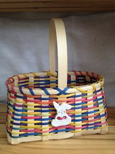 Handmade Large Girl's Easter Basket with Ceramic by WeavingsByPat