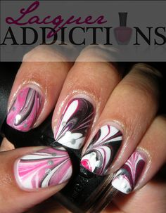 my first Marble Mani. Lacquer Addictions nail blog.
